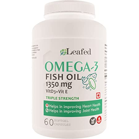 Leafed Fish Oil Omega 3 Triple strength 1350 mg with Vitamin D3 & Vitamin E (100% RDA) - 60 Softgel Capsules