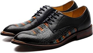 Business Crocodile Texture Hand Painted Oxford Shoes Formal Shoes (Color : Black, Size : 39)