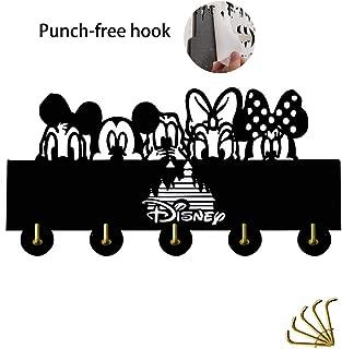 Mickey Mouse Key Hooks Disney Key Hooks Self-Adhesive Key Rack for Entryway, Kitchen,5 Hook Black Heavty Duty 6lb (Mickey Mouse 2)
