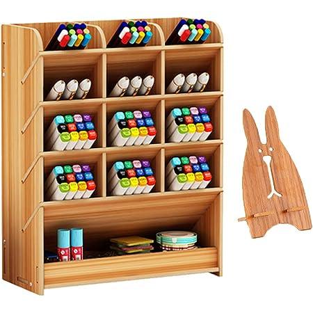 Marbrasse Wooden Desk Organiser Desktop Stationary Multi-Functional DIY Pen Holder Box Home Office Supply Storage Rack with Drawer