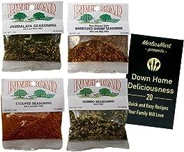 River Road by Fiesta Cajun MSG Free Seasoning Favorites 4 Flavor Plus Recipe Booklet Sampler Bundle, 1 each: Jambalaya, New Orleans Barbequed Shrimp, Etoufee, Gumbo (1 Ounce)
