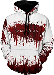 Hoodies for Men Pullover,Forthery Unisex 3D Print Halloween Long Sleeve Novelty Hoodie Pullover Fleece Sweatshirt