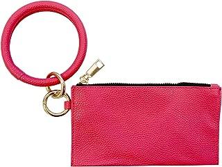 Women's Cash and Card Wallet, Bracelet Keychain Keyring PU Leather Zipper Wallet Bag Combo