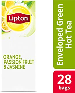 Lipton Green with Orange, Passion Fruit and Jasmine Enveloped Hot Tea Bags Made with Tea Leaves Sourced from Rainforest Alliance Certified Farms, 28 count, Pack of 6