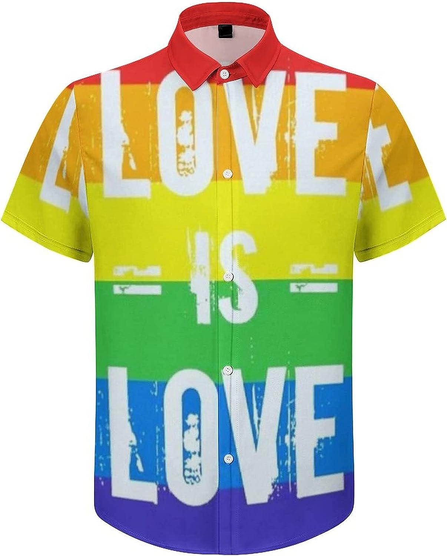 Men's Short Sleeve Button Down Shirt LGBT Rainbow Flag Summer Shirts