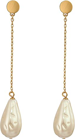 Gold Standard Pearl Linear Earrings