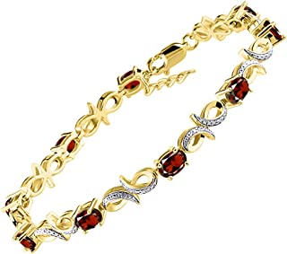 """RYLOS Stunning Infinity Tennis Bracelet with Oval Shape Gemstone & Genuine Sparkling Diamonds in 14K Yellow Gold Plated Silver .925-9 Gorgeous 6X4MM Color Stones - Adjustable to Fit 7""""-8"""" Wrist"""