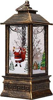 1 farolillos de Navidad, vela de Navidad vintage con luz LED de té Santa Claus linterna colgante lámpara de velas sin fuego lámpara para decoración de mesa de Navidad