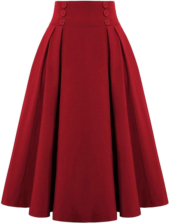 Esbelle Women High Waist Skirt Vintage Pleated Skirt Basic Stretchy Midi Skirt Casual Skater Skirts