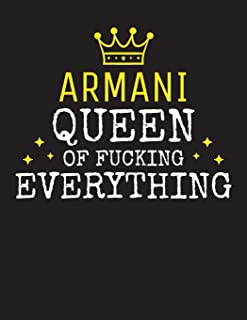ARMANI - Queen Of Fucking Everything: Blank Quote Composition Notebook College Ruled Name Personalized for Women. Writing ...