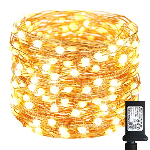 50Ft 150LED Fairy Lights Plug in, Super Bright String Lights Outdoor/Indoor (Upgraded Oversize Lamp Beads),8 Modes Waterproof Copper Twinkle Lights for Bedroom Party Garden Wedding