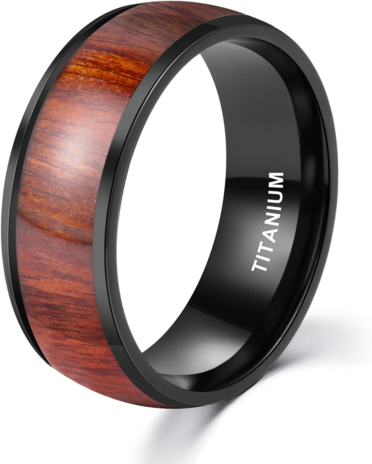 High quality new POYA 8mm Black Titanium Ring with Domed Inlay Bombing new work Comfort Wood Edges