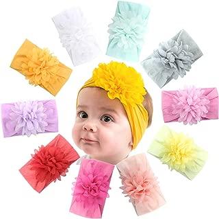 Baby Girls Headbands Big Chiffon Flowers Super Soft Cotton Headband Hair Wraps Turban for Infant Newborn and Toddlers