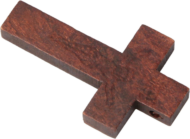 Decorazione a forma di crocifisso caff/è e beige Decorazione artigianale in legno Beige