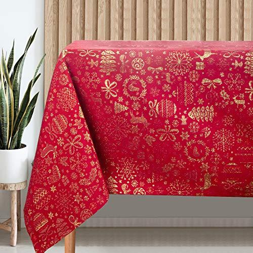 VISTE TU HOGAR Mantel con Hilo Dorado, Mantel Navidad, 140 x 200 CM,Decoración Navideña, Ideal para Navidad y Otras Fechas Especiales, Color Rojo