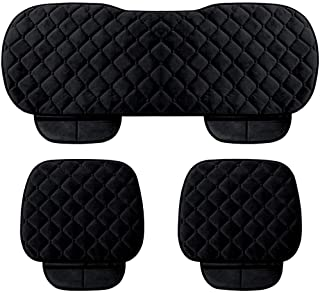WINGOFFLY 3 Pack Thicken Front and Rear Car Seat Cushion Nonslip Car Interior Seat Cover Pad Mat Fit for Auto Vehicle, Black