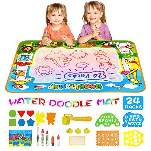 AOLUXLM Doodle Agua,Juguete para Niños,Alfombra de Aquadoodle para niños, Pizarra Mágica, Esteras Agua Dibujo Pintura con 23 Accesorios de Dibujo, Juguete Educativo Regalo para niños