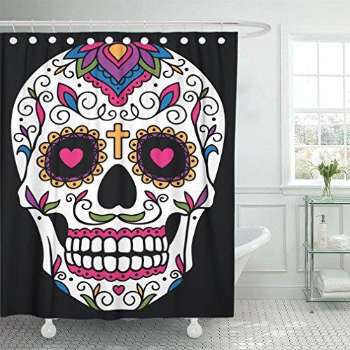 Emvency Cortina de Ducha Impermeable para Halloween, Diseño de Calavera Mexicana, Color Rojo, Diseño de Calaveras de Azúcar