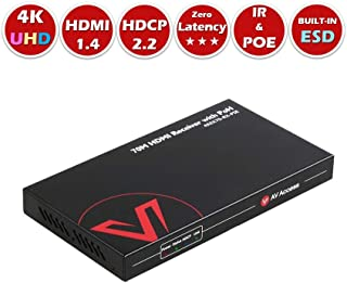 AV Access HDMI Extender PoH Receiver (HDBaseT), 4K x 2K UHD, Bidirectional IR+RS232+HDCP2.2, Over Single Cat5e/6/6a/7, 4K60Hz 131ft, 1080P 230ft, Co-Work Wall Plate Transmitter