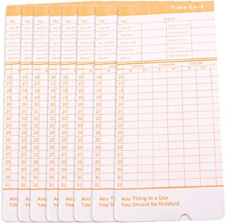 Enshey 100pcs Time Cards Monthly Format Thermal Print Paper Timesheet Double Side Print Blue Positive & Orange Negative Ideal for Most Punch-Card Machine in Out Attendance Payroll Recorder Puncher