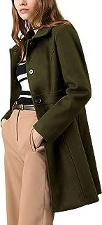 Women's Lapel Button A Line Thigh Length Long Pea Coat