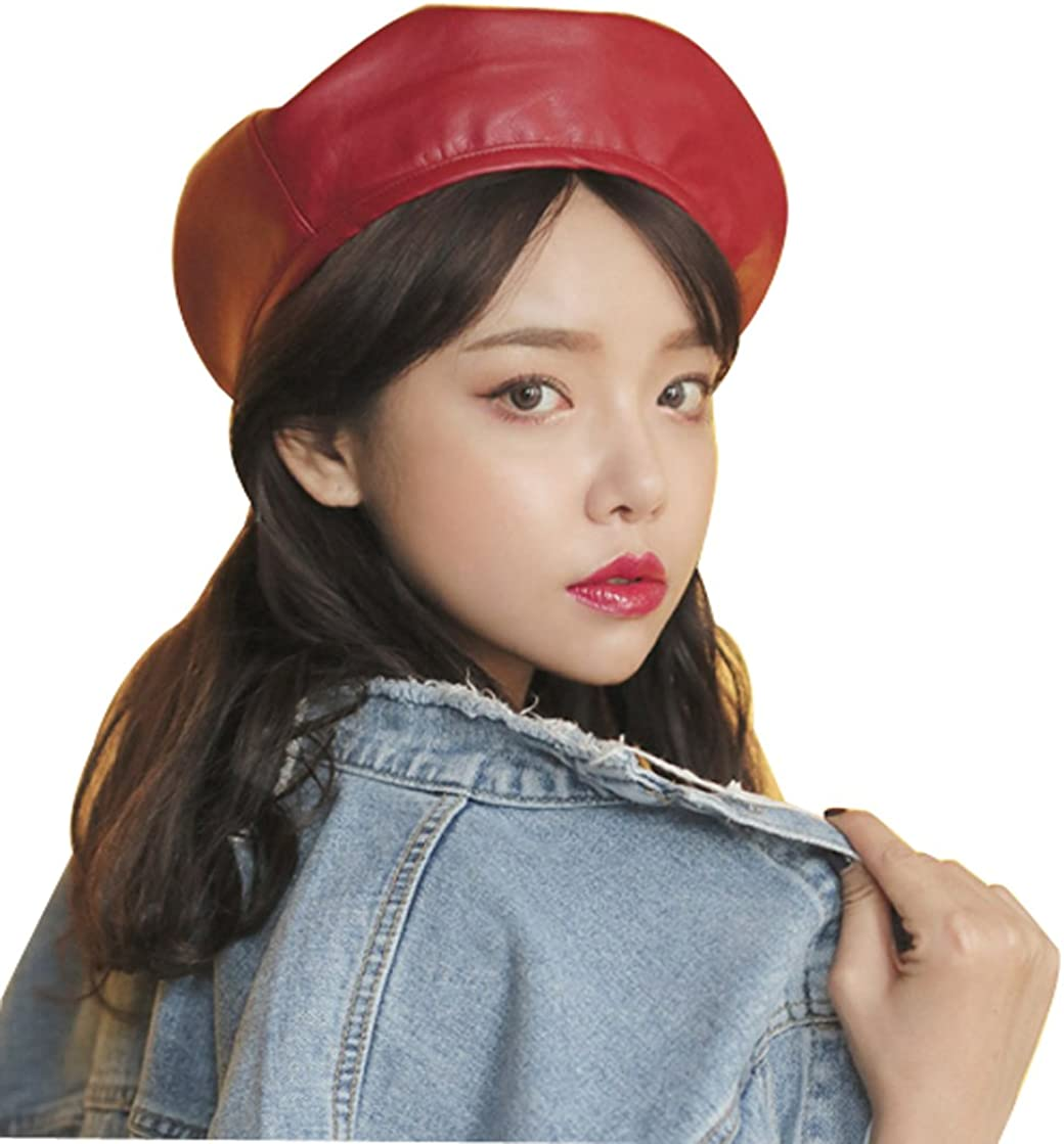 Faux Leather Beret Solid Plain Flat Top PU Berets French Style Painters Hat Cap