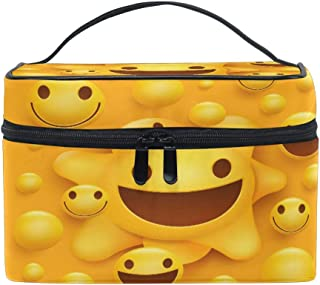 Makeup Bag, Emoji Emoticon Pattern Portable Travel Case Large Print Cosmetic Bag Organizer Compartments for Girls Women Lady