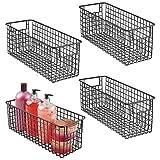 mDesign Narrow Farmhouse Decor Metal Wire Bathroom Organizer Storage Bin Basket - for Cabinets, Shelves, Countertops, Bedroom, Kitchen, Laundry Room, Closet, Garage - 4 Pack - Matte Black