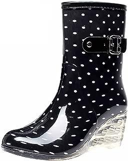 Women's Mid Calf Rain Boots Buckle Side Zipper Wedge High Heel Waterproof Shoes Snow Wellies Bootie
