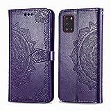 Bear Village Hülle für Galaxy A31, PU Lederhülle Handyhülle für Samsung Galaxy A31, Brieftasche Kratzfestes Magnet Handytasche mit Kartenfach, Violett