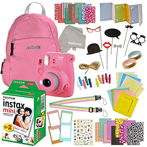 Fujifilm Instax Mini 9 Camera with Fuji Instant Film (20 Sheets) Travel Bundle & Accessories Includes Shoulder Bag ,Strap , Washi Tape , Stickers , Frames + Album And More