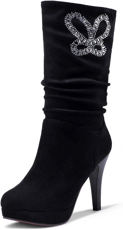 DecoStain Women's Classics Rhinestone & Pleated Solid Slip On Boots