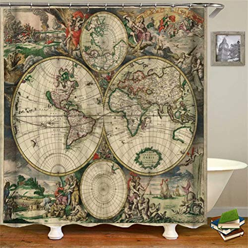 Shower Curtain. Waterproof. Shower Curtain Rod Ring Hook. Background. Party. Living Room.Contains 12 Hooks. Bathroom Accessories.World Map. War.