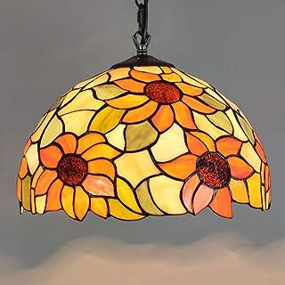 Candelabros Europeos de 12 Pulgadas Estilo Tiffany Sol Diseño de Flores Colgante de luz de Techo Vitrales para Sala de Estar Comedores Cocina