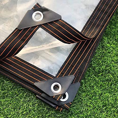 CYQ Lona Impermeable Transparente, Aislamiento antienvejecimiento PE Transparente Cubierta Impermeable Lámina de Lona, Tela de Lona para Plantas Invernadero Techo de conejera para Mascotas, 12