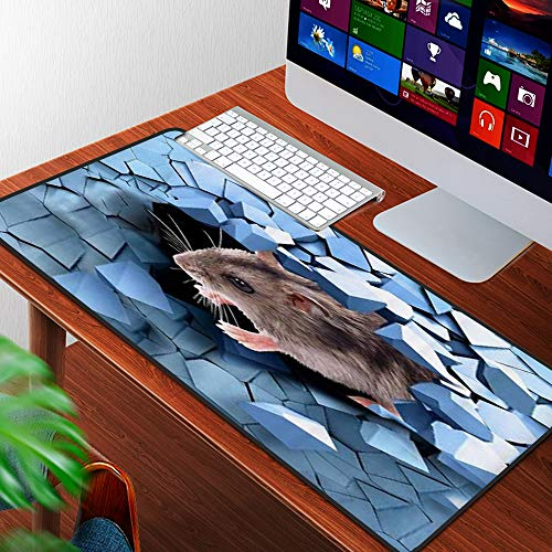 Luoquan Alfombrilla Raton Grande Gaming Mouse Pad,Hámster de Pared Azul Roto,Lavable, Antideslizante Diseñada para Gamers, Trabajo de Oficina