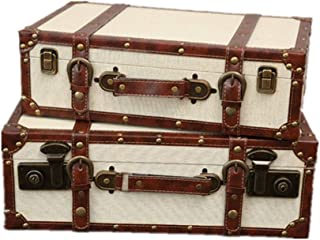 Holiday necessities Set Of 2 Decorative Vintage Suitcase Luggage Box With Handles And Locking Clasps,for Home Decor Displays Crafts Photoshoots Nesting Trunks Container (Color : White, Size : Large+sm