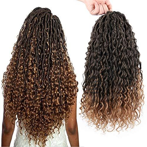 GX Beauty River Locs Crochet Hair 18 Inch 6 Packs New Goddess Faux Locs with Curly Ends Braids Crochet Hair Pre Looped Twist Faux Boho Locs Hair Extensions for Black Women (T1B-27#)