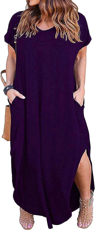 Kancystore Women's Plus Size Dresses Casual Loose Pocket Short Sleeve Slits Plus Size Long Maxi Dress XL-5X