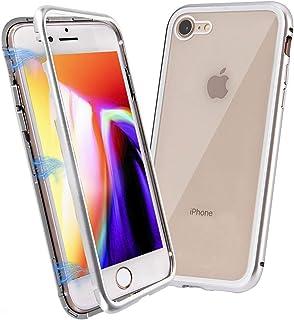 iPhone 8 保護ケース G-TING アイフォーン 8 金属フレーム マグネット式磁気吸着 【Qi充電対応】 落下保護 強化ガラスのバックプレート 極薄 おしゃれ 質感溢れ 滑り止め 耐衝撃 白