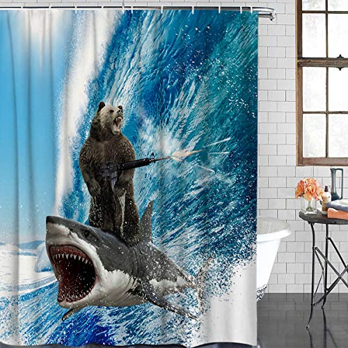 Xspring Shower Curtain Funny Bear with Machine Gun and Shark Surfing Ocean Wave 72 x 72inch Decorative Waterproof Machine Washable Bathroom Curtains, Hooks Included