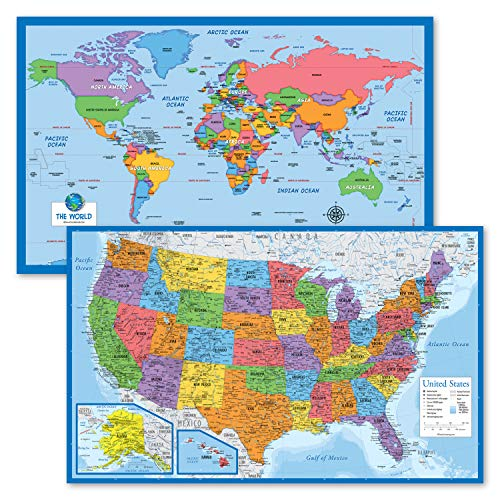2 Pack - World Map for Kids + Blue Ocean USA Map (Laminated, 18' x 29')