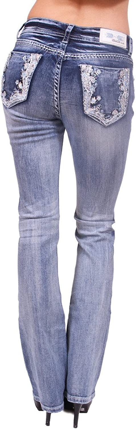 Grace in LA Women Faded Boot Cut Jeans with Floral Print and Rhinestones
