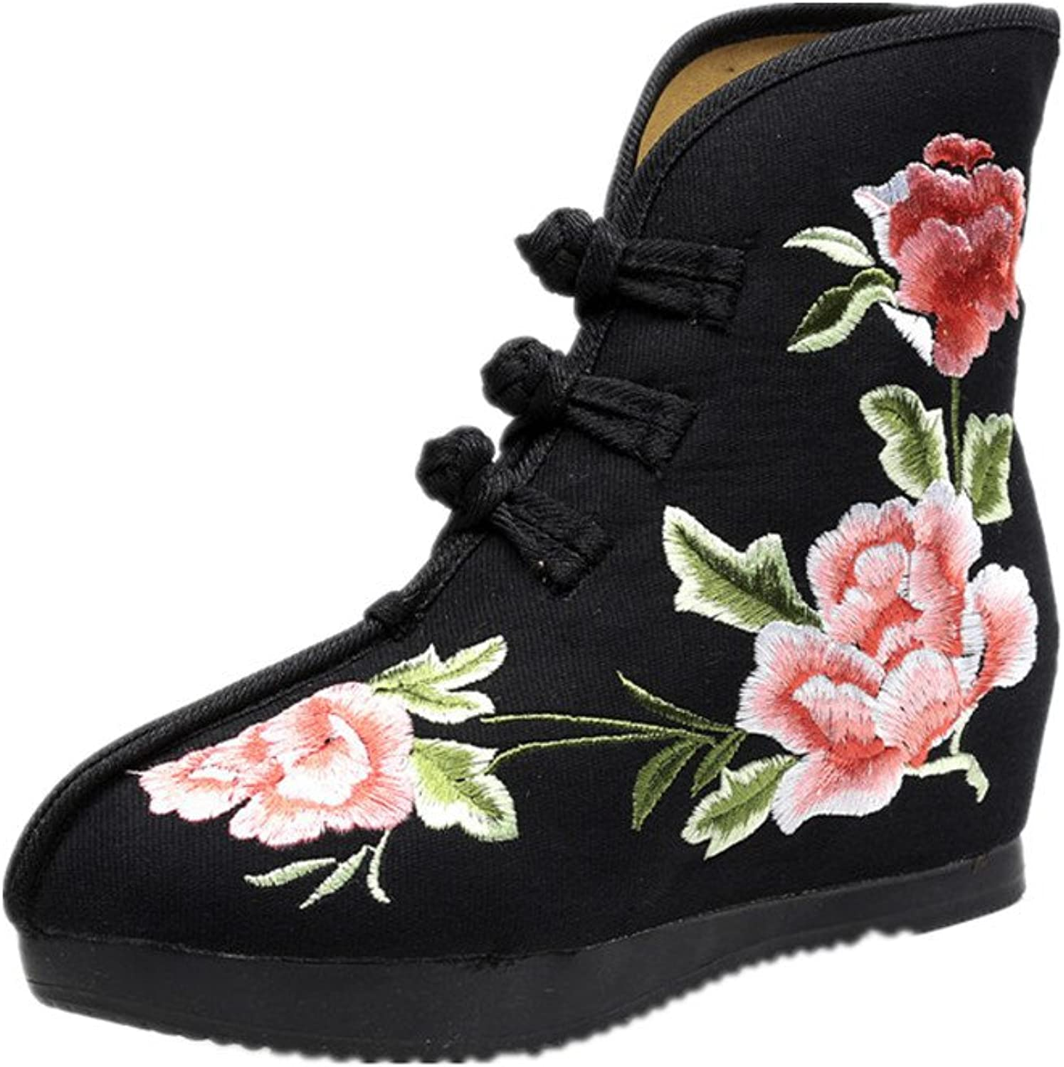 Tianrui Crown Women and Ladies The Hibiscus Embroidery Short Ankle Boots shoes