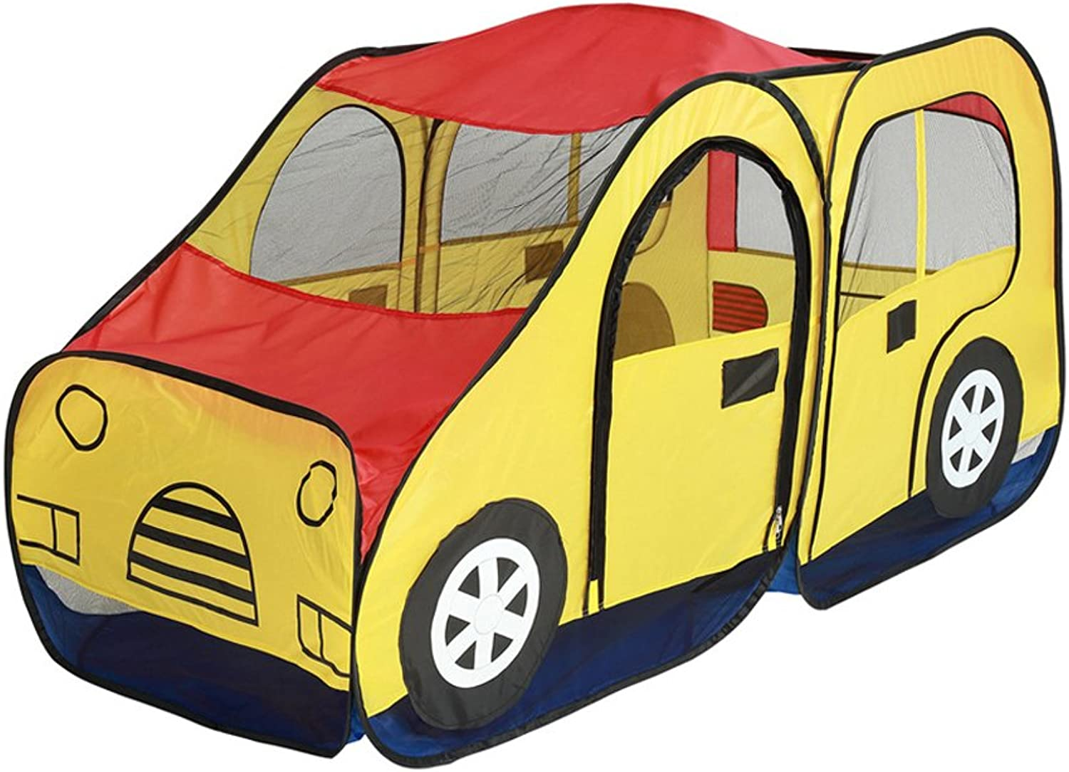 Baoblaze 69'' Pop up School Bus Play Tent Hut for Kids Outdoor Indoor Play Houses Game Nursery Playpen Waterproof Car Play House Castle Tent Toy Baby Infant Christmas Gift