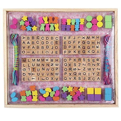 B&Julian Holzperlen Set zum auffädeln Natur Buchstaben bunt Holz Fädelperlen 214 STK. 8 Schnüre in Fädelbox zum Basteln Schmuck Armbänder Halsketten für Kinder ab 3 Jahren