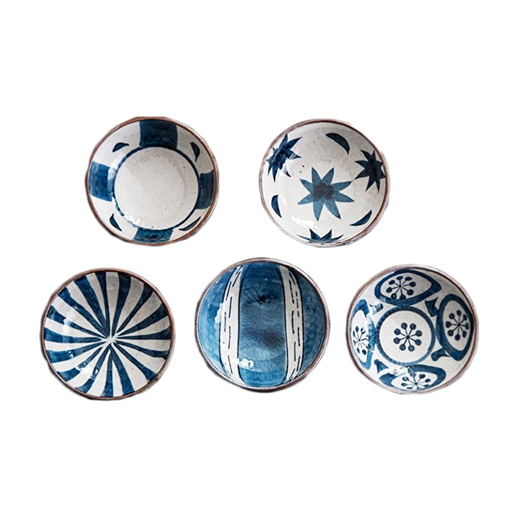 Colias Wing Creative Line Pattern Design Multipurpose Porcelain Side Dish Bowl Seasoning Dishes Soy Dipping Sauce Dishes-Blue(Set of 5)