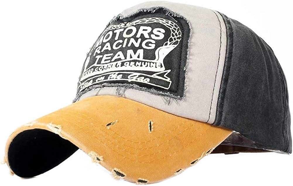 AVASAGS Baseball Cap Retro Cap Vintage Baseball Cap Motors Racing Motorcycle Snap Back Baseball Cap Outdoor Unisex (A-Yellow)
