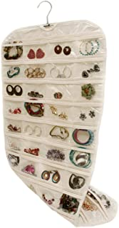Bigood Wall Hang Jewelry Organizer Holder 80 Pockets Double Sided Storage Beige