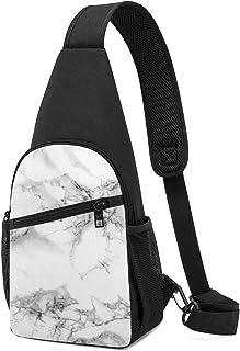 PGTry - Mochila bandolera de color gris mármol, ligera, para el pecho, bolsa cruzada, para viajes, senderismo, para hombre...